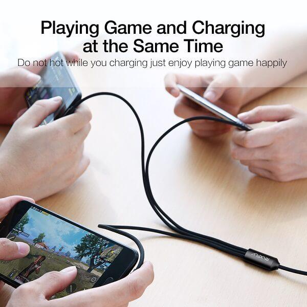 3 в 1 универсален кабел за зареждане на iOS и Android (USB Type C & Micro USB & Lightning за iPhone)