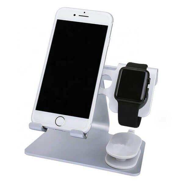 2 в 1 алуминиева поставка за смартфон и смартчасовник