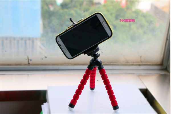 Гъвкав трипод за смартфон, 18 см, червен