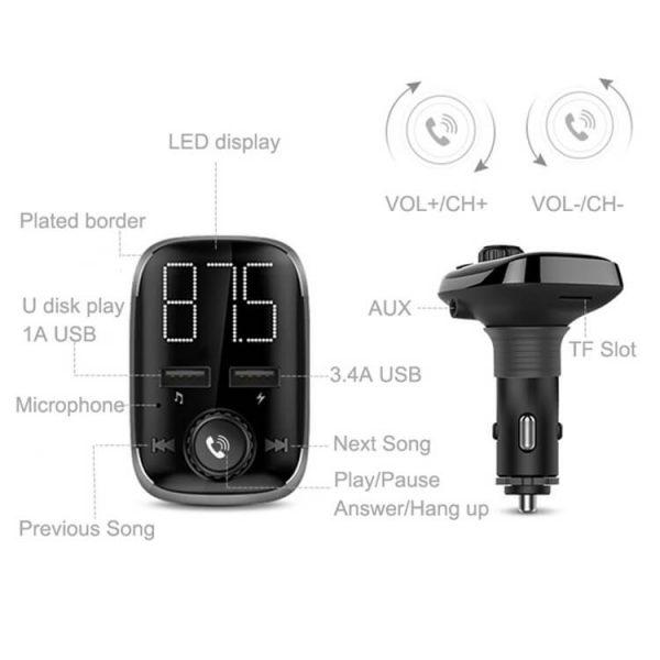FM Bluetooth трансмитер с USB зарядно за кола, MP3 плеер - BT72