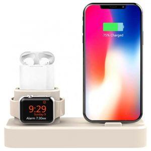 3 в 1 силиконова поставка за зареждане на Apple iPhone, Watch, AirPods, сив