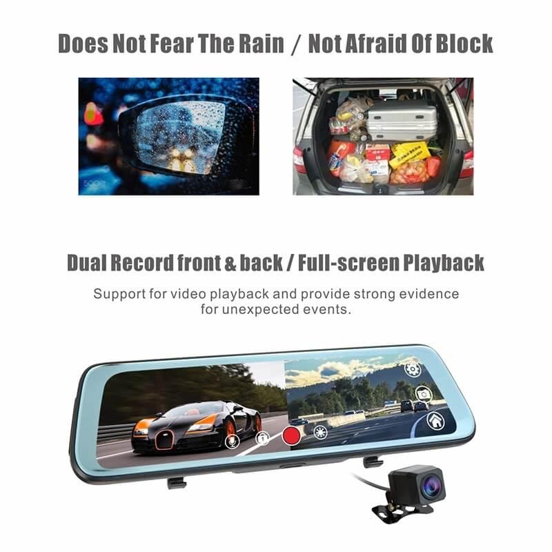 9.7 инчов видеорегистратор J66 тип огледало за кола с камера за задно виждане, 1080p
